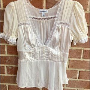 BEBE silk, lace sheer top.